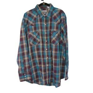 Plaid VTG Shirt Pearl Snaps Single Stitch Men's XL